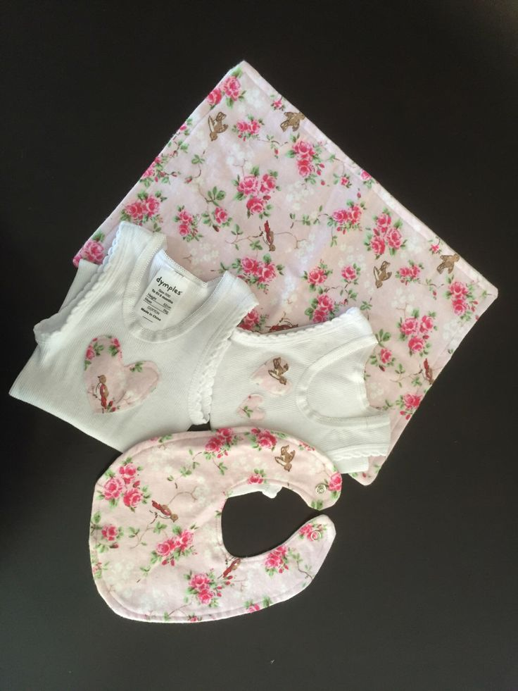 A personal favourite from my Etsy shop https://www.etsy.com/au/listing/268592638/baby-girl-gift-set-bib-burp-cloth
