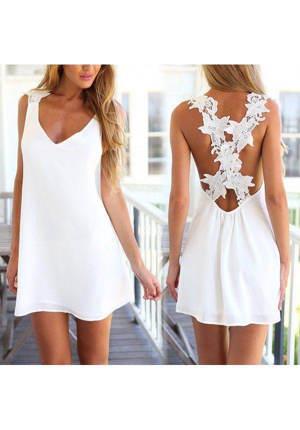 Vestido de playa encaje de verano ganchillo bordado tirantes con cuello en V Sexy blanco aq74