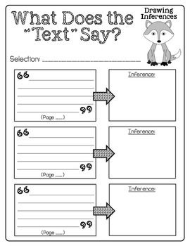 "Inference What Does the ""Text"" Say?  Text Evidence Reading Response Printables"
