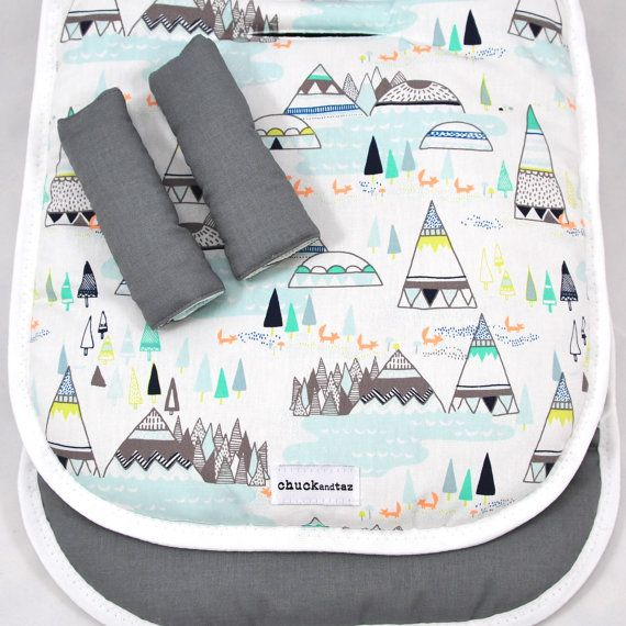 Universal Pram Liner / Stroller Liner Indian Teepees Aqua/Grey--- i didn't even see the cute little foxes before! you had me at mountains and turquoise you fabric pattern you... now oonly if I had the fabric, I don't want to pay $60