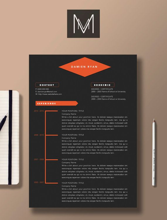 Professional Resume Template | 2 Page Resume + 1 Page Cover Letter |  Graphic Design Template