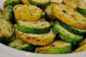 Roasted Squash and Zucchini: olive oil, salt, pepper & garlic powder; 10-12 minutes in lower part of 450 oven