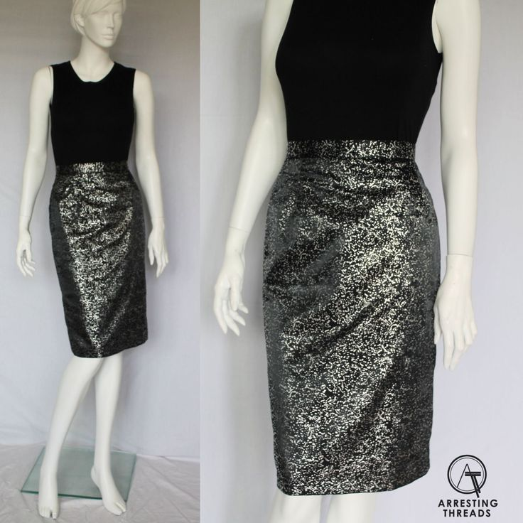 Vintage 80s Skirt, Black, Space, Metallic Skirt, Silver Skirt, Wet Look, Paint, Splash, Midi Skirt, Size XS, by ArrestingThreads on Etsy