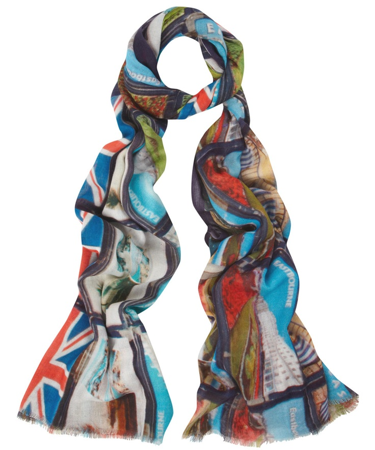 Lily & Lionel Photo Print Best of British Scarves: English Seaside, Punch & Judy, and Telephone Boxes
