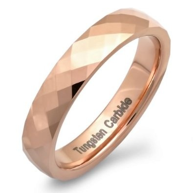 Tungsten Carbide Men S Las Uni Ring Wedding Band Rose Gold Plated Dome Faceted Polished Shiny Comfort Fit Available In Sizes 8 To