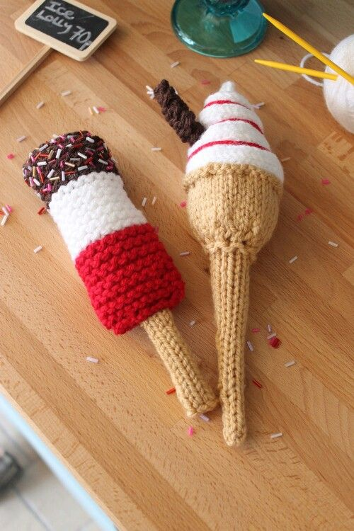 Knitted ice cream cone and lolly :-O