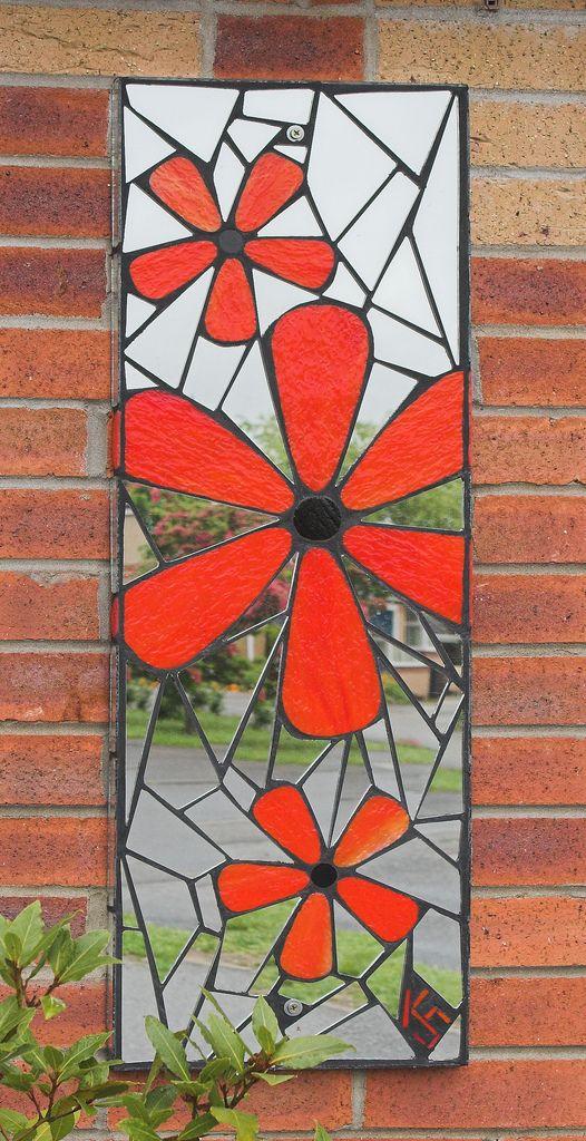 Flowers | Mosaic garden mirror (31 x 92cm / 1' x 3'). Design… | Flickr