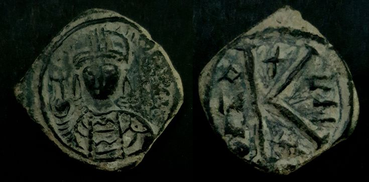 Minted and circulated during the lifetime of the Prophet Muhammed and the Rashidun Caliphate.   AH 1-30 / AD 622-651  Arab-Byzantine half follis imitation of Justinian I.   During the lifetime of the Founder of Islam the Prophet Muhammed and the first Islamic Caliphate, the Orthodox Rashidun Caliphate, the currency in circulation were copied from the reigning powers of the time which were the Byzantine in the west as well as Persian Sassanian Empire in the East.