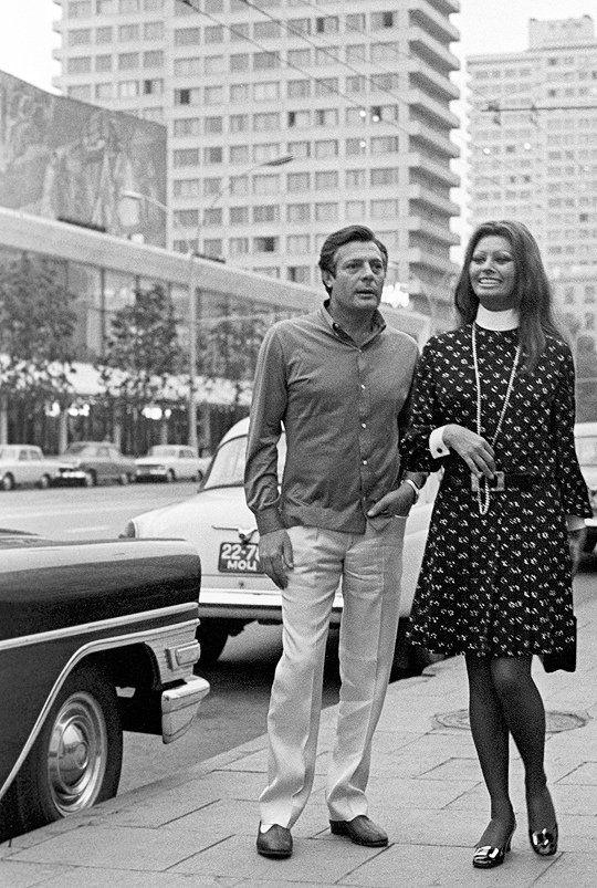 Марчелло Мастроянни и Софи Лорен в Москве.1969 г.