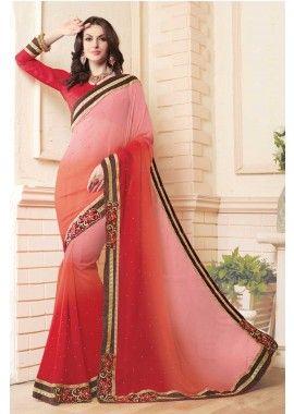 rouge et de lumière de couleur georgette sari rose, - 88,00 €, #Sariindien #Sariindienmariage #Robeindiennemariage #Shopkund