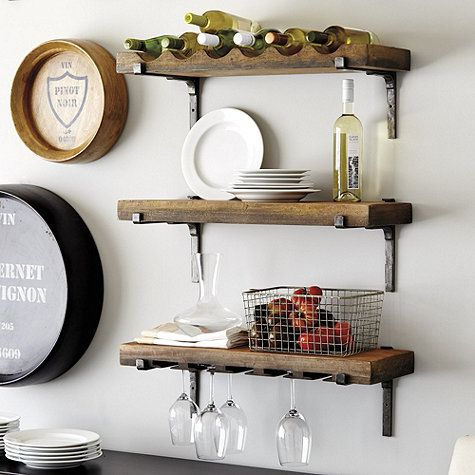 Hang our Vigneto Shelving individually or together on or any combination to create a wall of storage and display. Each shelf is hand crafted of distressed mango wood. Brackets are