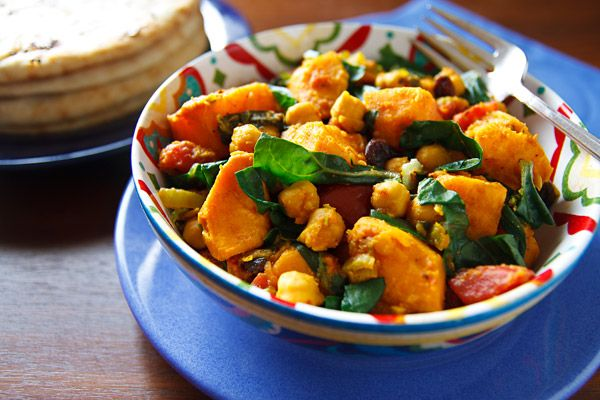 Curried Sweet Potatoes And Chickpeas Recipe — Dishmaps
