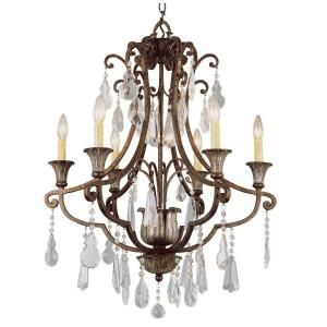 Bel Air Lighting Cabernet Collection 6 Light Antique Bronze Chandelier Crystal Chandeliersmetal