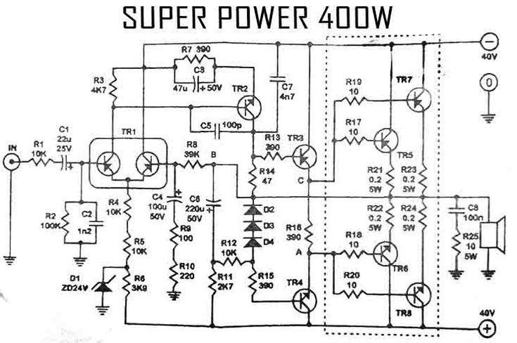 Power Amplifier 400W Audio Circuit 2SC2922 2SA1216 in 2019
