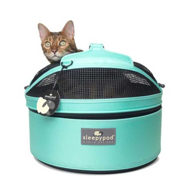 Round carriers like this Sleepypod double up as a pet bed as the dome section is removable, making it ideal for hotel stays.