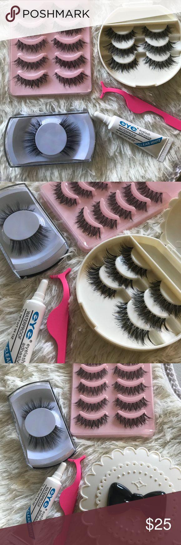Wispy Eyelashes Set ⭐️1 Premium Mink Eyelashes  ⭐️5  wispy Lashes ⭐️3 wispy lashes  ⭐️Applicator ⭐️ Glue ⭐️Eyelash Case ( all colors available)   # tags, Iconic, mink, red cherry eyelashes, house of lashes, doll, kawaii, case, full, natural,  Koko, Ardell, wispies, Demi , makeup, mascara, eyelash applicator, Mykonos Mink , Lashes , wispy ,eyelash case, mink lashes  Ship within 24 hours ❣️ PRICE IS FIRM Makeup False Eyelashes