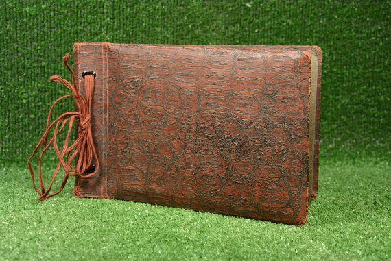 Rare Vintage Photo Album Red Leather,  Retro Leather Photo Album, Photos Cover, Memory Book Photo Organizer Blank Photo Album, Picture Album
