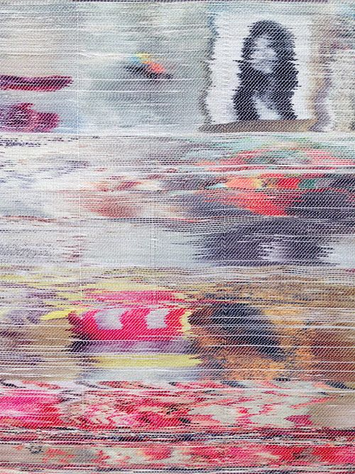hand-woven pieces by Margo Wolowiec of TV screen glitches