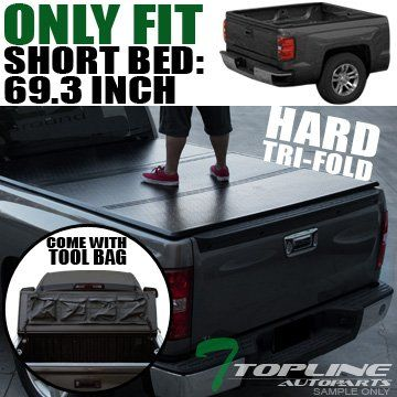"Topline Autopart Solid Tri-Fold Hard Truck Topper Cap Tonneau Cover w/ Tool Bag 14-17 Chevy Silverado / GMC Sierra 1500 2500 3500 HD Crew Cab 5.8 Ft 68"" Short Bed Fleetside. For product info go to:  https://www.caraccessoriesonlinemarket.com/topline-autopart-solid-tri-fold-hard-truck-topper-cap-tonneau-cover-w-tool-bag-14-17-chevy-silverado-gmc-sierra-1500-2500-3500-hd-crew-cab-5-8-ft-68-short-bed-fleetside/"