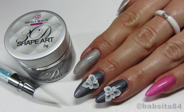 Holographic Nails - 3D Flowers - 3D Shape Art Żel Plastelina - Perfect B...