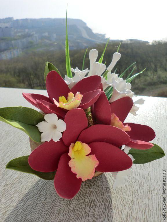 Купить Орхидеи дендробиум в скорлупе кокоса - полимерная глина deco, орхидея, орхидеи дендробиум