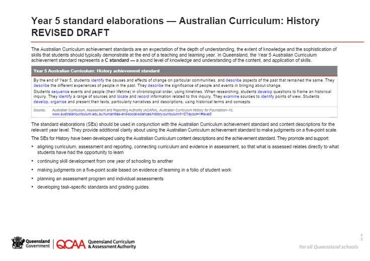 Year 5 History standard elaborations