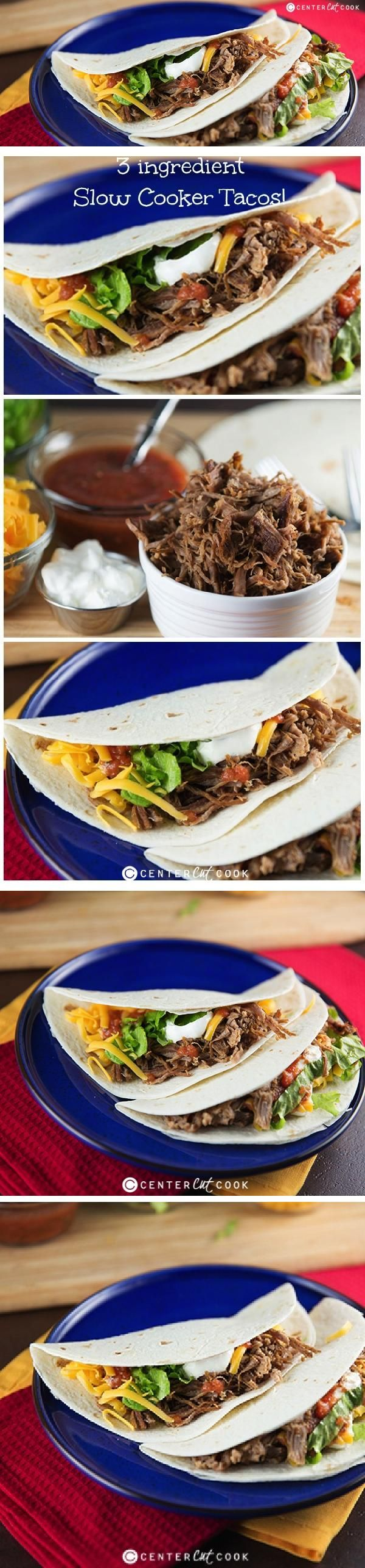This recipe for Slow Cooker Beef Tacos couldn't get any easier! Flank steak is slow cooked in the crock pot all day long so that come diner time, you've got tender shredded beef perfect for tacos! Top with your favorite garnishes and you've got the perfect family meal.