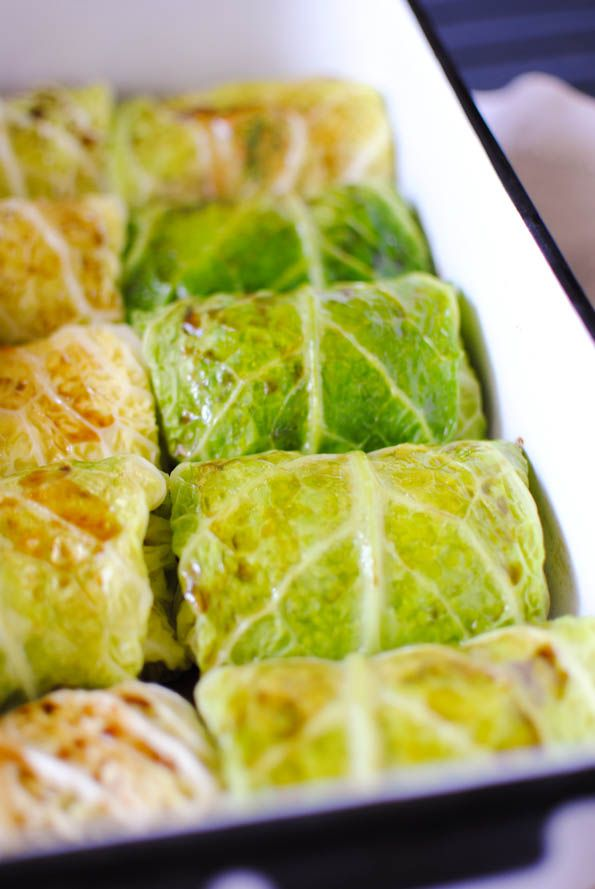 Savoy cabbage rolls with golden chanterelle and brown rice filling and cranberry sauce