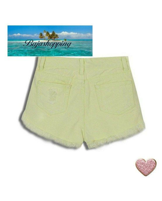 Yellow Ripped Denim Beach Shorts ~ Save 60% + Free Shipping!