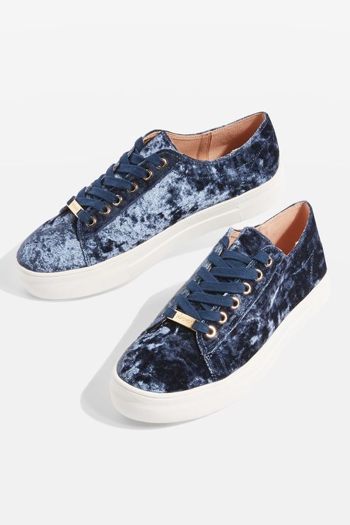 Up your textured trainer game with these blue velvet lace up trainers. Comfortable and versatile, they're perfect with your favourite pair of jeans.