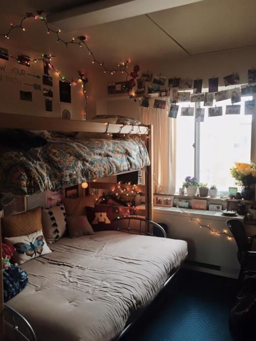 dorm room, university of minnesota, girls room, single, cute, hipster, decoration, dorm, futon, lofted bed