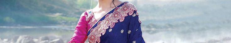 Dark Blue and Parrot Green Faux Crepe Jacquard Saree with Blouse Online Shopping: SLSPF2B