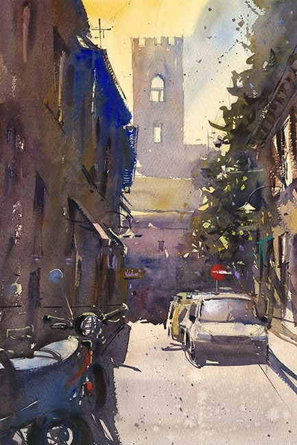 """""""Lost in Lucca"""" watercolor by Ron Stocke. Come join the painting vacation of a lifetime as you travel to Italy and seek out the best sites to paint in Lucca, Italy. With a day trip to Pisa built in, this week long workshop promises to give you memories, and paintings to last a lifetime. May 20th-24th, 2013. Details of the workshop can be found on our website."""
