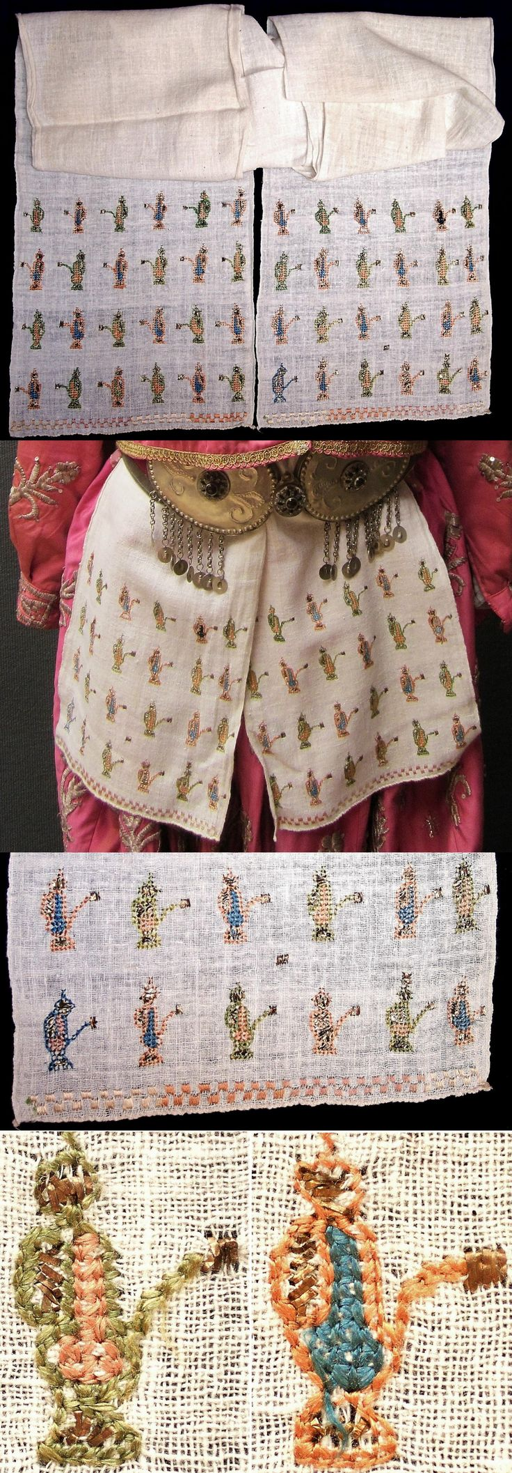An 'uckur' (woman's waistband/sash) with embroidered ends.  From the Bursa region, early 20th c.  The embroidery is 'two-sided' (identical on both sides of the fabric) and is executed in both silk on linen and 'tel kırma' (motives obtained by sticking narrow metallic strips through the fabric and folding them). The motif used is an 'ibrik' (water pitcher). (Inv.nr. brdw039 - Kavak Costume Collection - Antwerpen/Belgium).