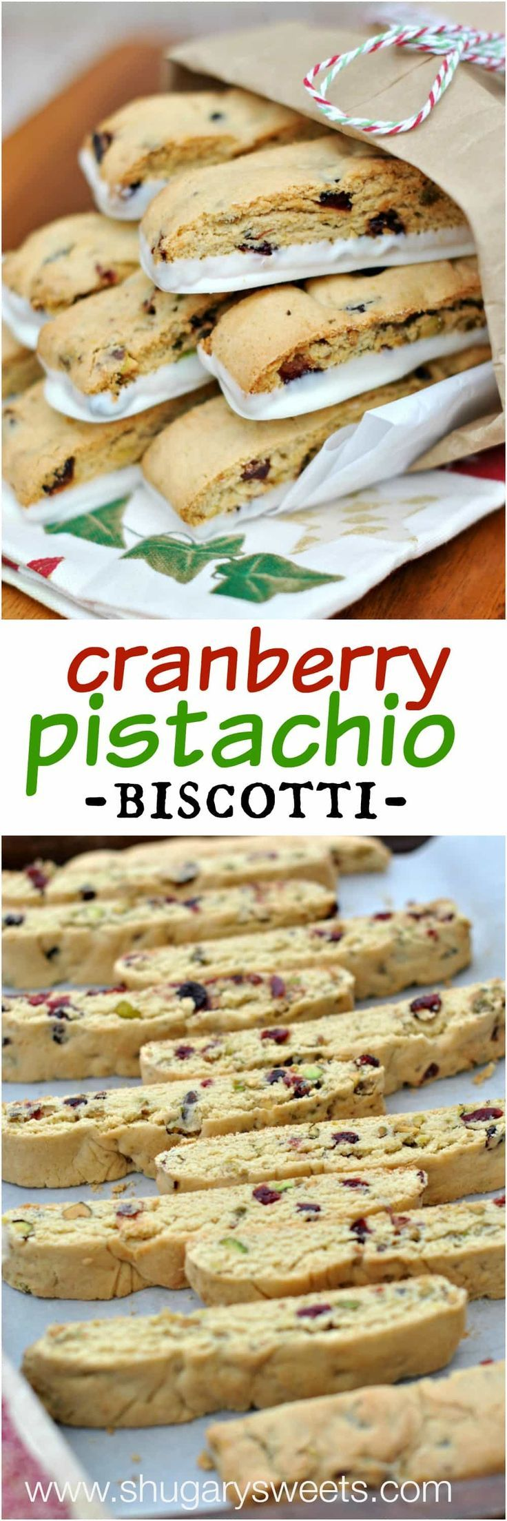 Crunchy Biscotti recipe made with Cranberry, Pistachio and White Chocolate. Keeping some biscotti on hand during the holiday season!