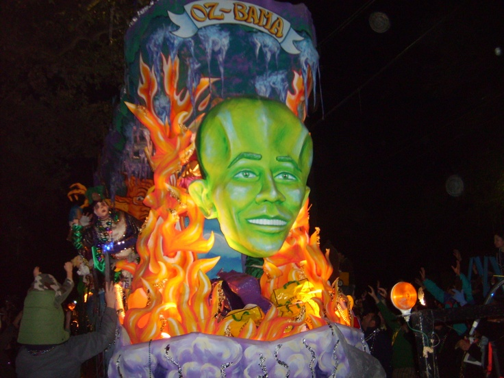 Mardi Gras night parade on St. Charles