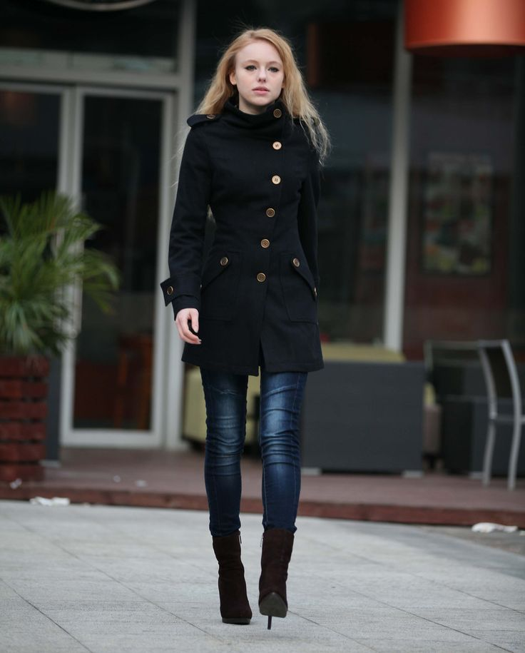 Black Coat Fitted Military Jacket Winter Wool Jacket Casual