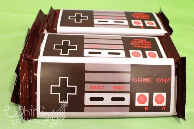 Nintendo party favor idea: Hershey's chocolate bar with a print out of a Nintendo controller. Awesome!
