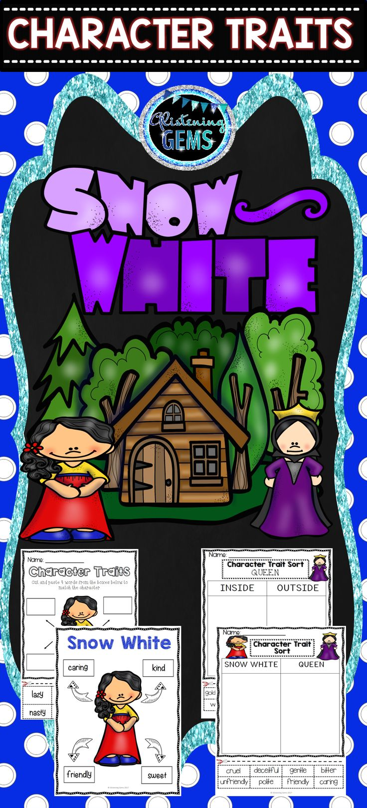 snow white character trait activities word wall cards fairy tales activities glistening. Black Bedroom Furniture Sets. Home Design Ideas