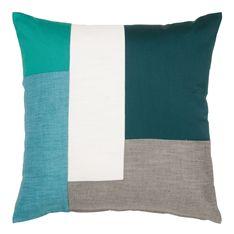 cushion colour block green 50x50cm