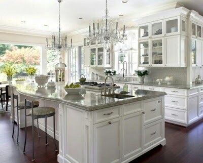 White Cabinets With Grey Countertops