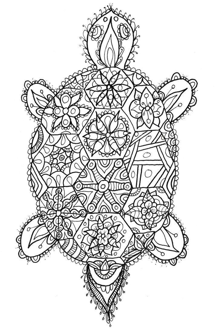 tortoise doodle by welshpixie on deviantart adult coloring pages books pinterest art. Black Bedroom Furniture Sets. Home Design Ideas
