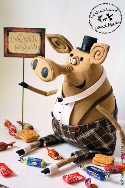 Ароматизированные куклы ручной работы. Заказать Мистер Свин. Лена Лешка. Ярмарка Мастеров. Интерьерная игрушка, коричневый, акриловые краски