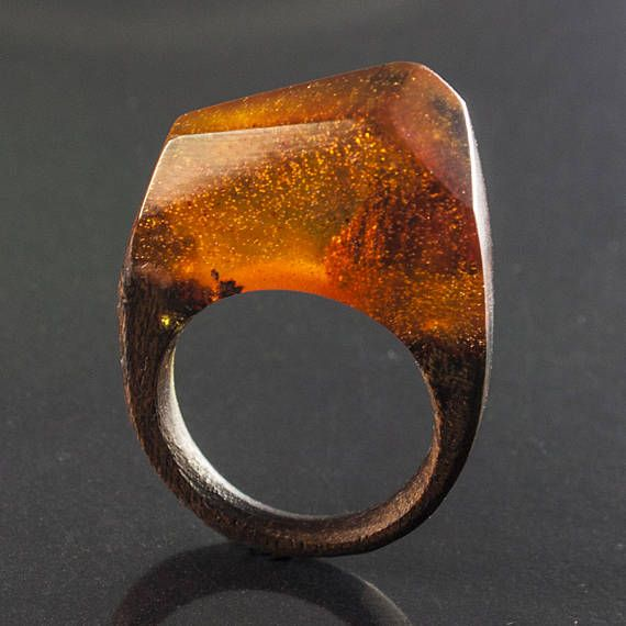 Magic sunset  resin and wood ring