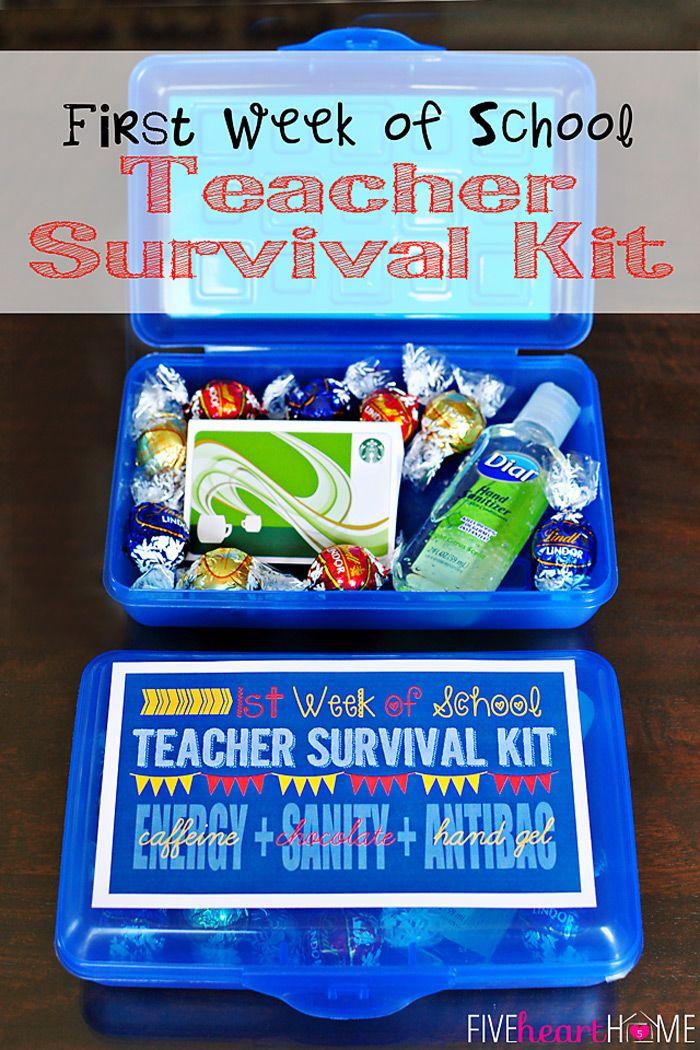 Back to School ~ First Day Teacher Gift: First Week of School Teacher Survival Kit ~ FREE PRINTABLE {Energy (caffeine) + Sanity (chocolate) + Antibacterial Hand Gel} | FiveHeartHome.com