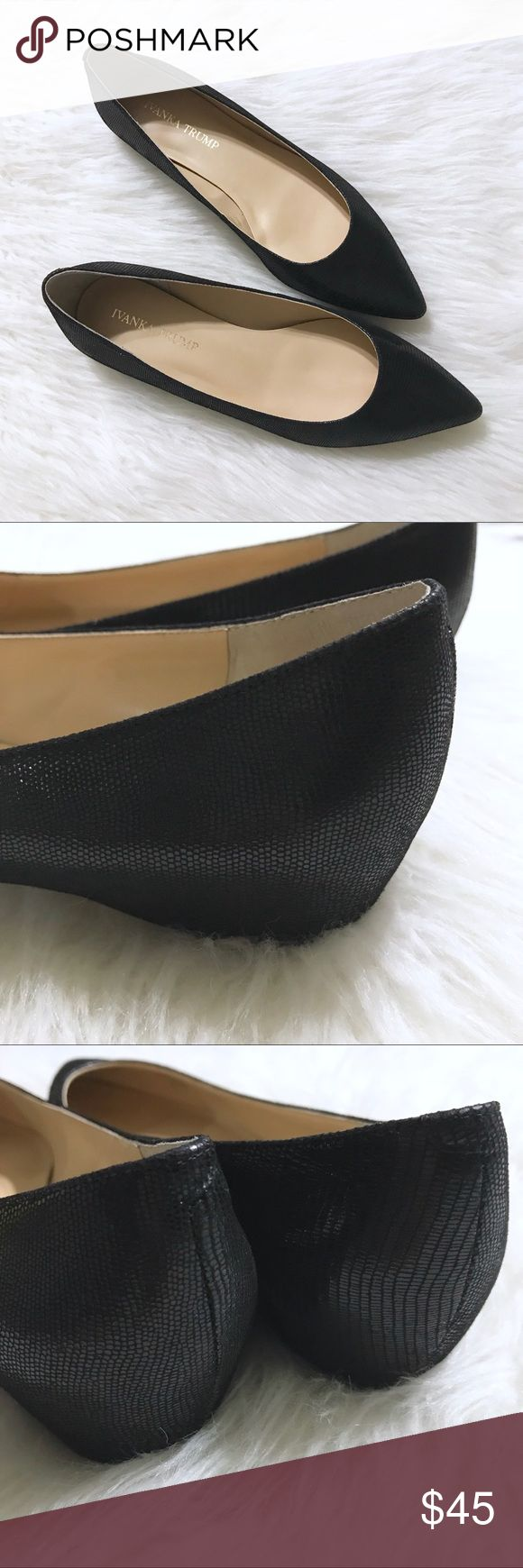 Snake-print Black Flats Versatile pair of leather snake print black flats. Worn once. Box included. Excellent condition. Marked size 8W. Currently selling for full price at online retailers. Ivanka Trump Shoes Flats & Loafers
