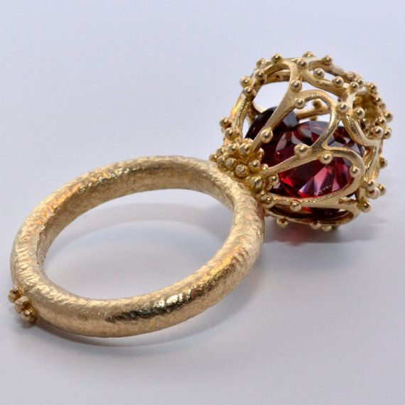 Alexandria Sphere Ring  14k Solid Gold Ring with by Kosmimata
