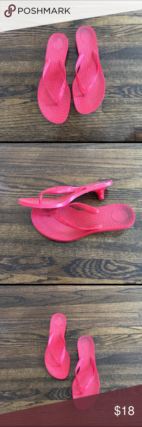 Red Kitten Heeled Plastic Sandals 🎈 Perfect summer shoes.  Great to wear by the pool.  These are fully plastic.  Mini kitten heel. Shoes Sandals