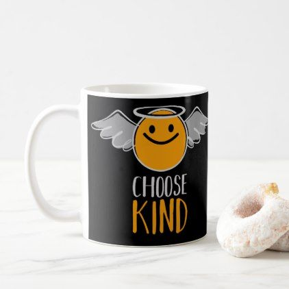 Funny Cute Angel Emoticon Choose Kind Coffee Mug - black gifts unique cool diy customize personalize