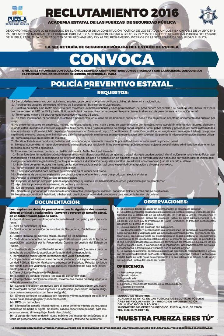 Abren convocatoria para la Policía Estatal Preventiva | e-consulta.com 2016